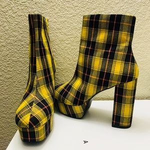 Yellow and Blue plaid platform boots